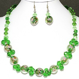 "18"" Crystal Glass Necklace Earring Set Rose Green FNE242"
