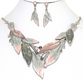 Necklace Earring Set Rhinestones Leaf Leaves Gray Pink FNE248