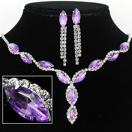 Rhinestone Necklace Earring Set Silver Lavender Lt Purple FNE249