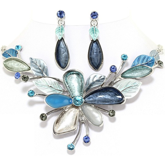 "18"" Necklace Earring Set Flower Multi Color Silver Blue T FNE252"