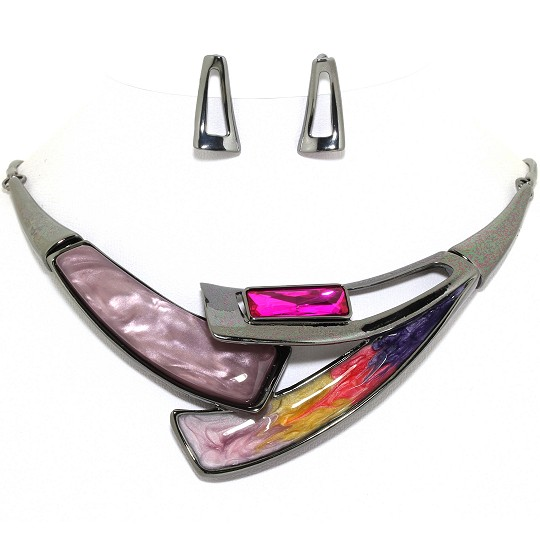 "17"" Necklace Earring Set Rectangle Gem Dark Gray Magenta FNE253"