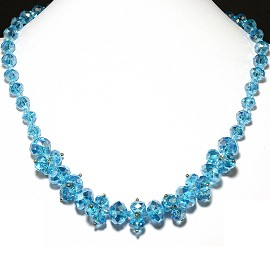 Crystal Necklace Turquoise Aura Borealis AB FNE254