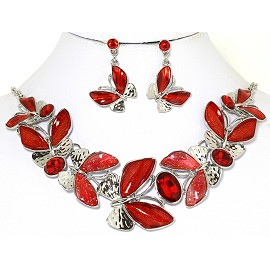 Necklace Earring Set Butterfly Silver Tone Red FNE257