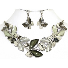 Necklace Earring Set Butterfly Silver Tone Dark Green FNE258