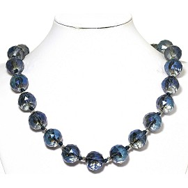 Necklace Crystal Cut Ball Beads Clear Blue FNE263