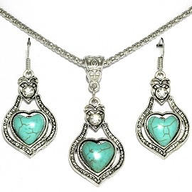 Thin Necklace Earring Set Heart Turquoise FNE268