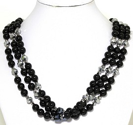 Necklace Bead 3 Strand Black Silver Tone FNE269