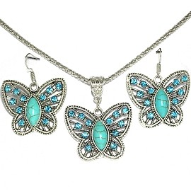 Thin Necklace Earring Set Butterfly Rhinestone Turquoise FNE272