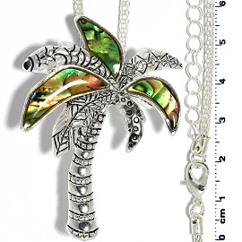 "20.5"" Abalone Palm Tree Necklace Metallic Silver Tone FNE275"