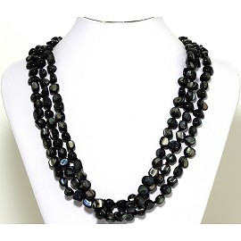 Necklace 3 Strand Shiny Smooth Stone Beads Black FNE277