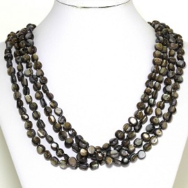 Necklace 4 Strand Shiny Smooth Stone Beads Gray Tan FNE279