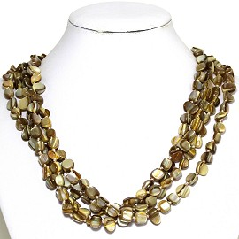 Necklace 4 Strand Shiny Smooth Stone Beads Tan Brown FNE280
