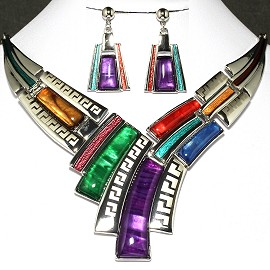 Necklace Earring Set Lines Silver Multi Color FNE283