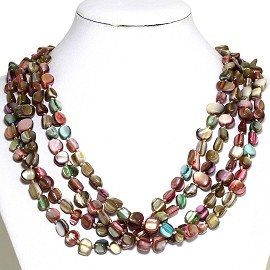 Necklace 4 Strand Shiny Smooth Stone Beads Multi Color FNE286