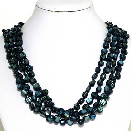 Necklace 4 Strand Shiny Smooth Stone Beads Dark Teal FNE287