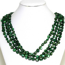Necklace 4 Strand Shiny Smooth Stone Beads Green FNE289