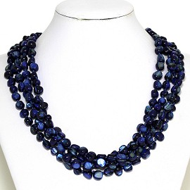 Necklace 4 Strand Shiny Smooth Stone Beads Dark Blue FNE292