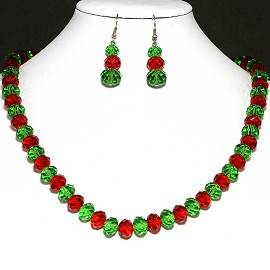 10mm Crystal Set Necklace + Earrings Green Red FNE294