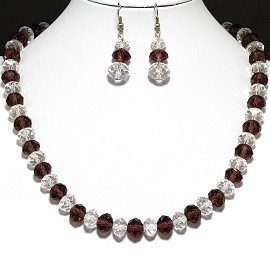 10mm Crystal Set Necklace + Earrings Reddish Purple Clear FNE296