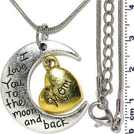 Metallic Necklace Pendant Moon Heart Mom Silver Gold Tone FNE300