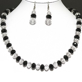 10mm Crystal Set Necklace + Earrings Clear Black FNE302