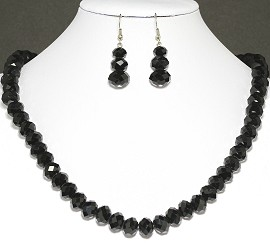 10mm Crystal Set Necklace + Earrings Black FNE304