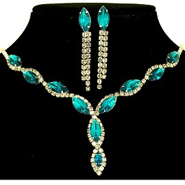 Rhinestone Necklace Earring Set Silver Teal FNE311