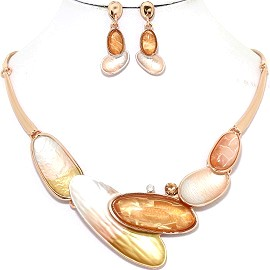 Necklace Earring Set Long Oval Brown Gold Tone FNE312
