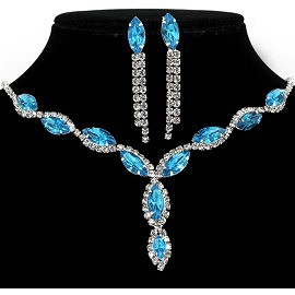 Rhinestone Necklace Earring Set Silver Turquoise FNE313