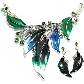 "20"" Necklace Earring Set Leaf Leaves Green Blue Silver To FNE314"