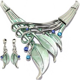 "20""Necklace Earring Set Leaf Leaves LT Green Silver Tone FNE317"