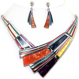 "19"" Necklace Earring Set Long Rectangle Lines Multi Color FNE321"