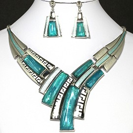 Necklace Earring Set Lines Silver Turquoise FNE322