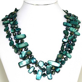 Necklace 3 Strand Crystal Rectangle Seashell Teal Green FNE325