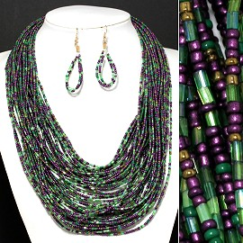 Seed Beads Necklace Earring Green Purple FNE329