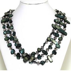 Necklace 3 Strand Crystal Rectangle Seashell Forest Green FNE338