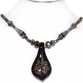 Glass Pendant Crystal Necklace Flower Spoon Purple Black FNE341
