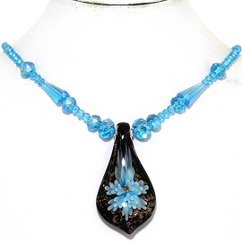 Glass Pendant Crystal Necklace Flower Spoon Turquoi Black FNE342
