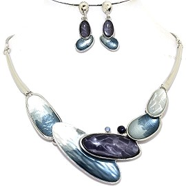Necklace Earring Set Long Oval Blue Silver Tone FNE343