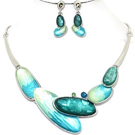 Necklace Earring Set Long Oval Teal Turquoise Silver Tone FNE346
