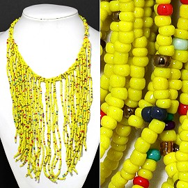 Seed Beads Necklace Yellow Red Gold Green FNE347