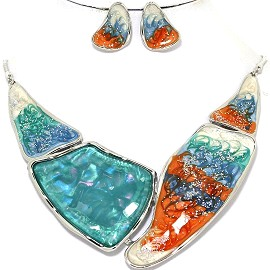 Necklace Earring Set Odd Shape Turquoise Silver Tone FNE350