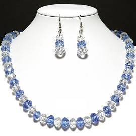 10mm Crystal Set Necklace + Earrings Clear Light Blue FNE355