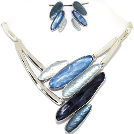 Necklace Earring Set Line Oval Blue Silver Tone FNE358