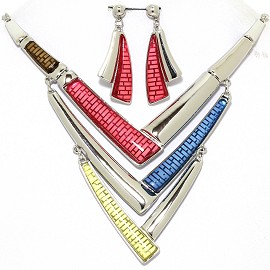 Necklace Earring Set Lines Silver Tone Red Blue Yellow FNE364