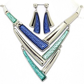 Necklace Earring Set Lines Silver Tone Turquoise Blue FNE369