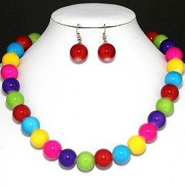 Necklace Earring Rhinestone Set Multi Color FNE373