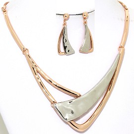Necklace Earring Set Shiny Curve Line Gold Silver Tone FNE383