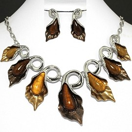 "20"" Necklace Earring Set Brown Leaf FNE388"