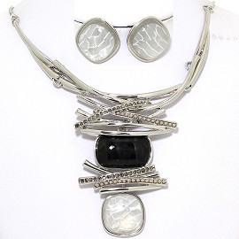 Necklace Earring Set Gems Rhinestones Silver Tone Black FNE390